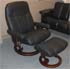 Stressless Consul Medium Recliner and Ottoman - Batick Black Leather by Ekornes