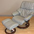 Stressless Tampa Royalin Mole Leather Recliner Chair and Ottoman