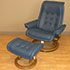 Stressless Royal Medium Paloma Oxford Blue Leather Recliner Chair and Ottoman