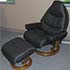 Stressless Voyager Paloma Leather Recliner Chair and Ottoman