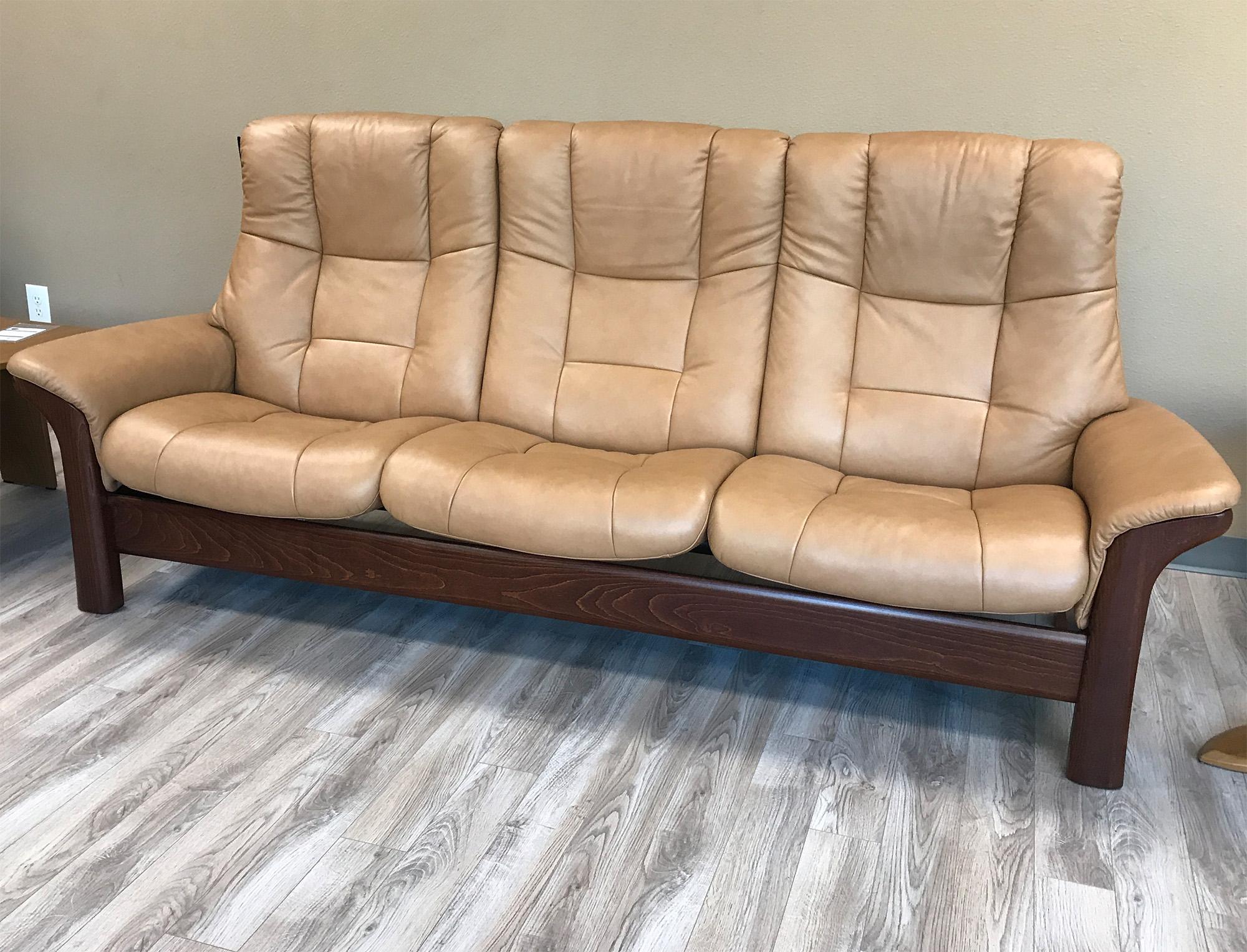 stressless buckingham 3 seat high back sofa paloma taupe color leather by ekornes. Black Bedroom Furniture Sets. Home Design Ideas