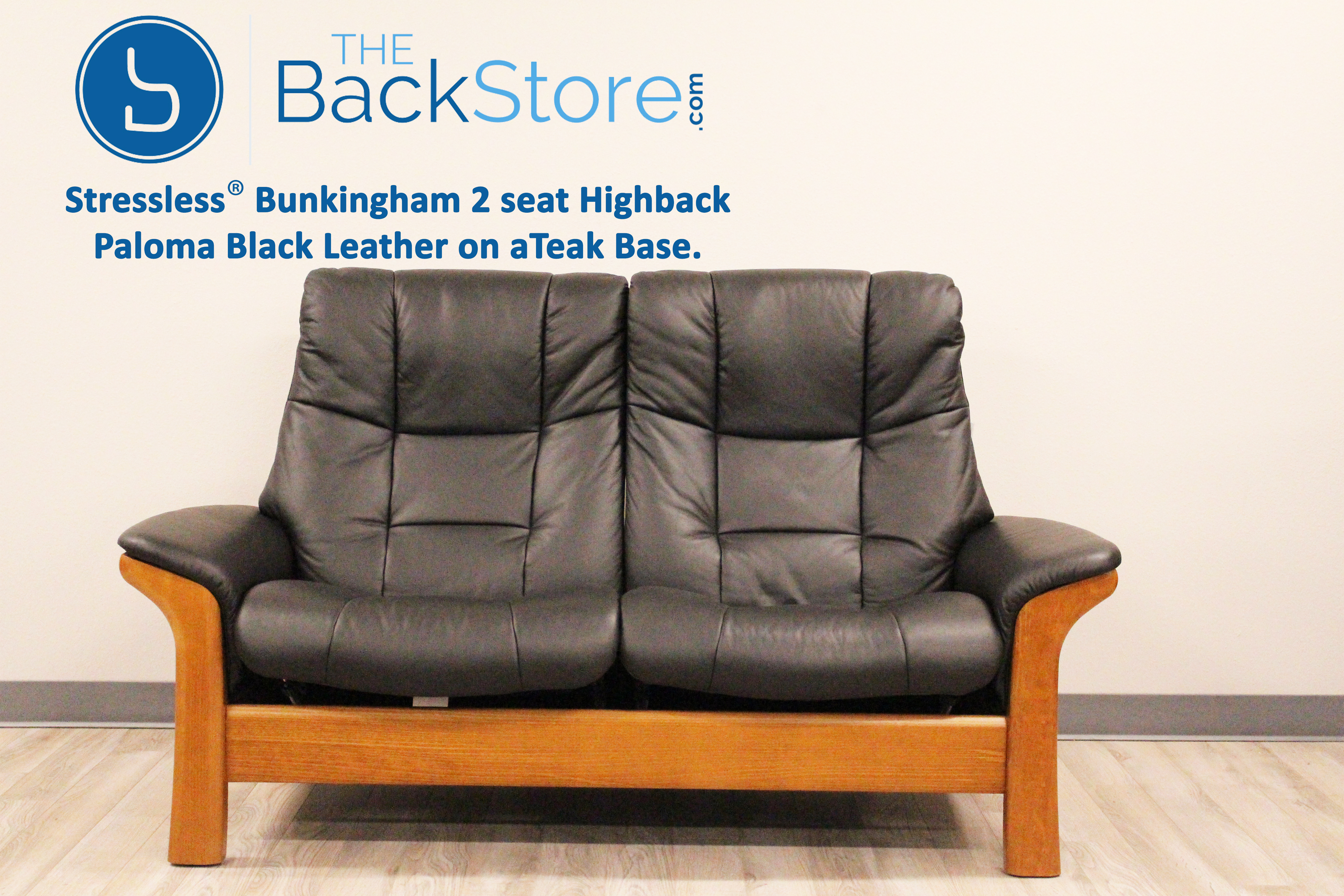 Stressless Buckingham 2 Seat Loveseat High Back Sofa Paloma Black