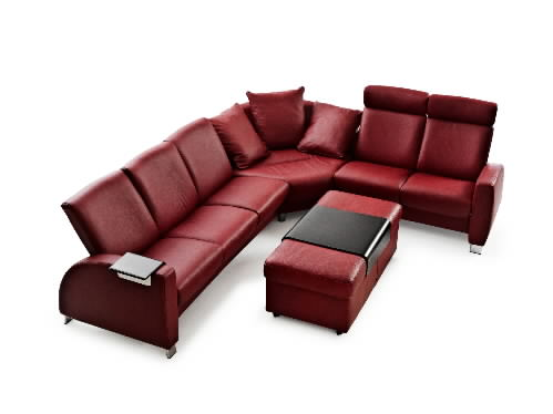 Stressless Paloma Cherry Leather Color Recliner Chair And Ottoman From Ekornes