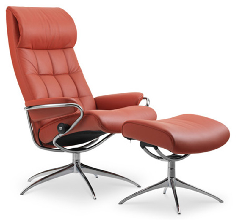 Stressless London High Back Recliner Chair And Ottoman By Ekornes