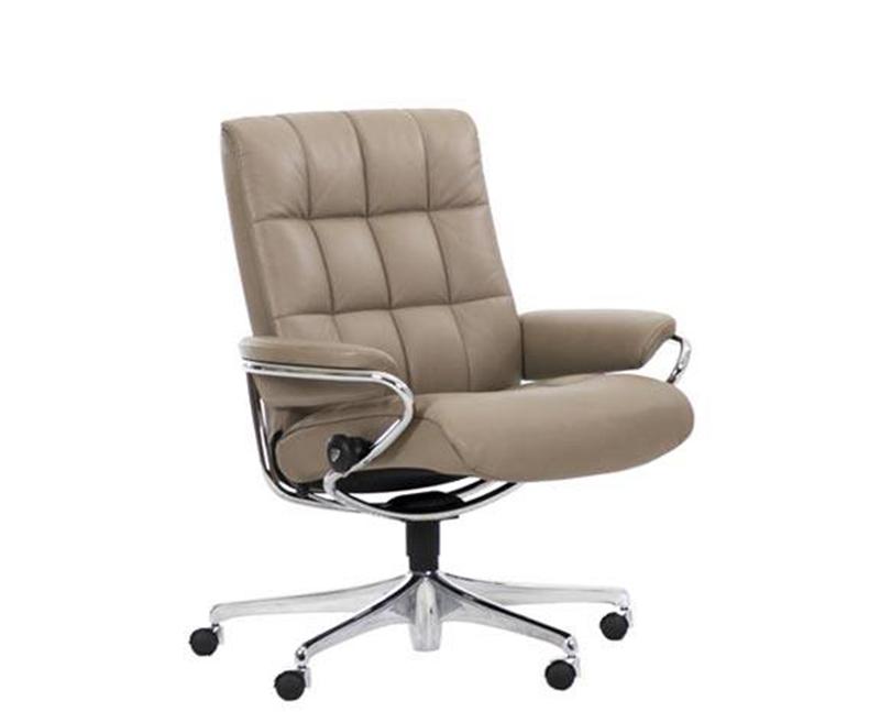 Ekornes Stressless London Low Back Leather Office Desk Chair Recliner Londo