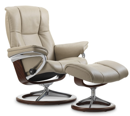 Stressless Mayfair Signature Base Recliner Chair and Ottoman by Ekornes