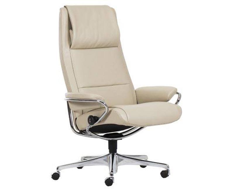 Ekornes Stressless Paris High Back Leather Office Desk Chair Recliner Paris