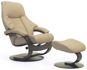 Fjords Giske Ergonomic Recliner Chair and Ottoman C Frame Scandinavian Lounger