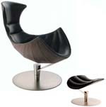 Fjords Lobster Ergonomic Recliner Chair and Ottoman by Hjellegjerde. C Frame Scandinavian Norwegian