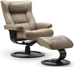 Fjords Regent Ergonomic Recliner Chair and Ottoman by Hjellegjerde. Scandinavian Norwegian