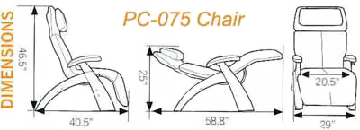 Human Touch Series 1 Classic PC-075 Power Silhouette Perfect Chair Dimensions