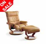 Memphis and Savannah Stressless Leather Recliner Chair and Ottoman by Ekornes