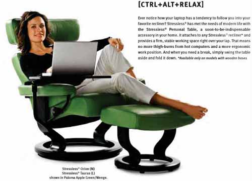 Stressless Orion in Paloma Green Apple with Wedge Wood Finish