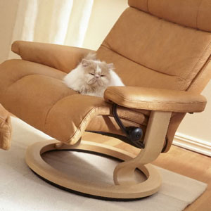 Stressless Memphis Recliner Chair and Ottoman Palom Tan with Natural Wood Base