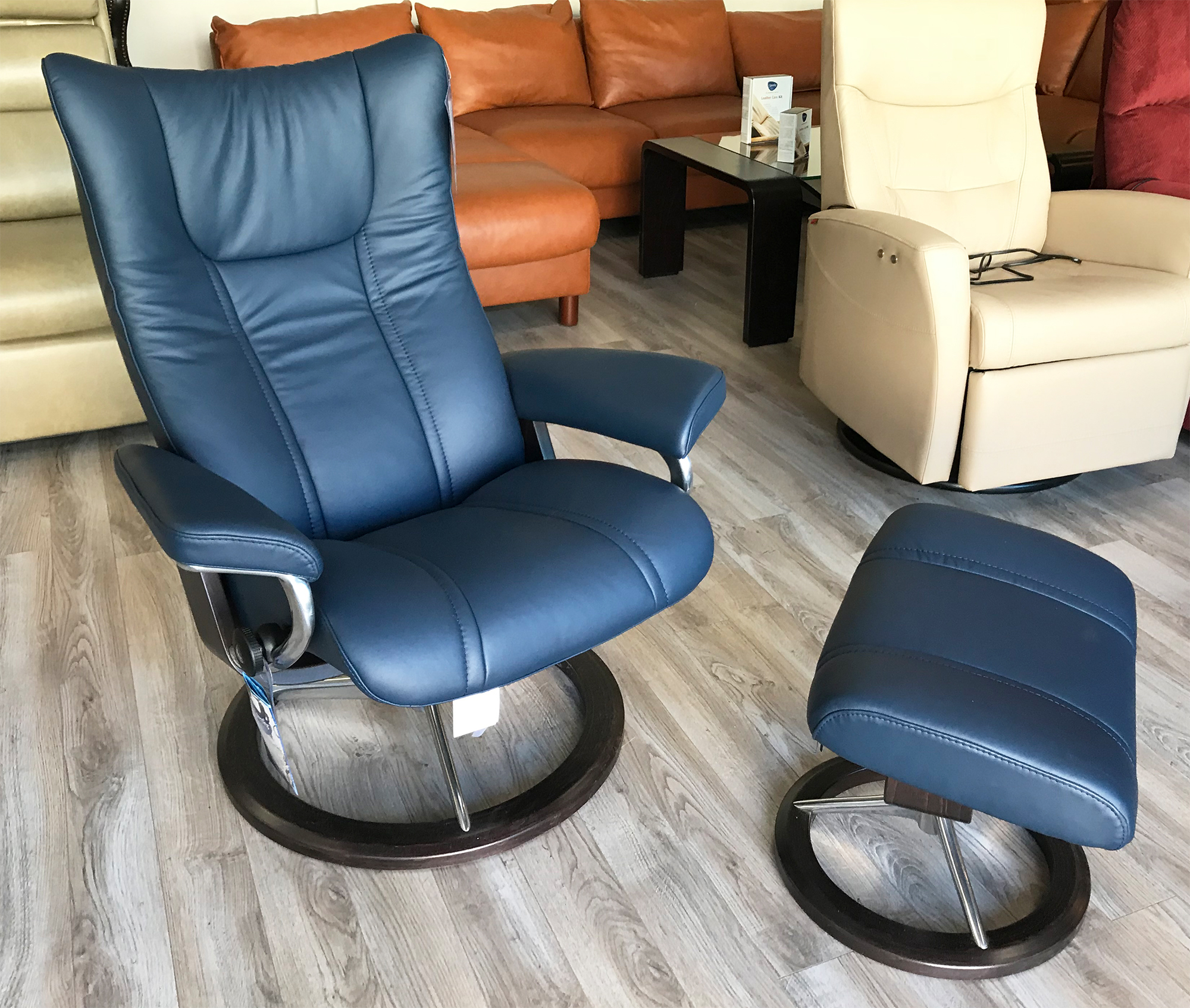 Incredible Stressless Wing Recliner Chair And Ottoman In Paloma Black Leather By Ekornes Ocoug Best Dining Table And Chair Ideas Images Ocougorg