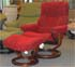 Stressless Kensington Large Cocoon Red Fabric Recliner Chair and Ottoman