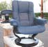 Stressless Mayfair Medium Oxford Blue Leather Recliner Chair and Ottoman