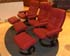 Stressless Oxford Large Recliner Chair and Ottoman in Batick Burgundy Leather by Ekornes