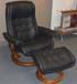 Stressless Royal Medium Recliner and Ottoman - Paloma Black Leather by Ekornes