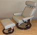 Stressless Orion Paloma Stone Leather Recliner Chair and Ottoman