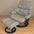 Stressless Vegas Large Reno Recliner Chair and Ottoman in Royalin Mole Leather