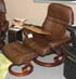 Stressless Sunrise Recliner and Ottoman in Paloma Chocolate Leather by Ekornes