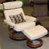 Stressless Taurus Large Recliner and Ottoman - Natura White Fabric