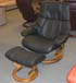 Stressless Vegas Large Reno Recliner Chair and Ottoman in Paloma Black Leather