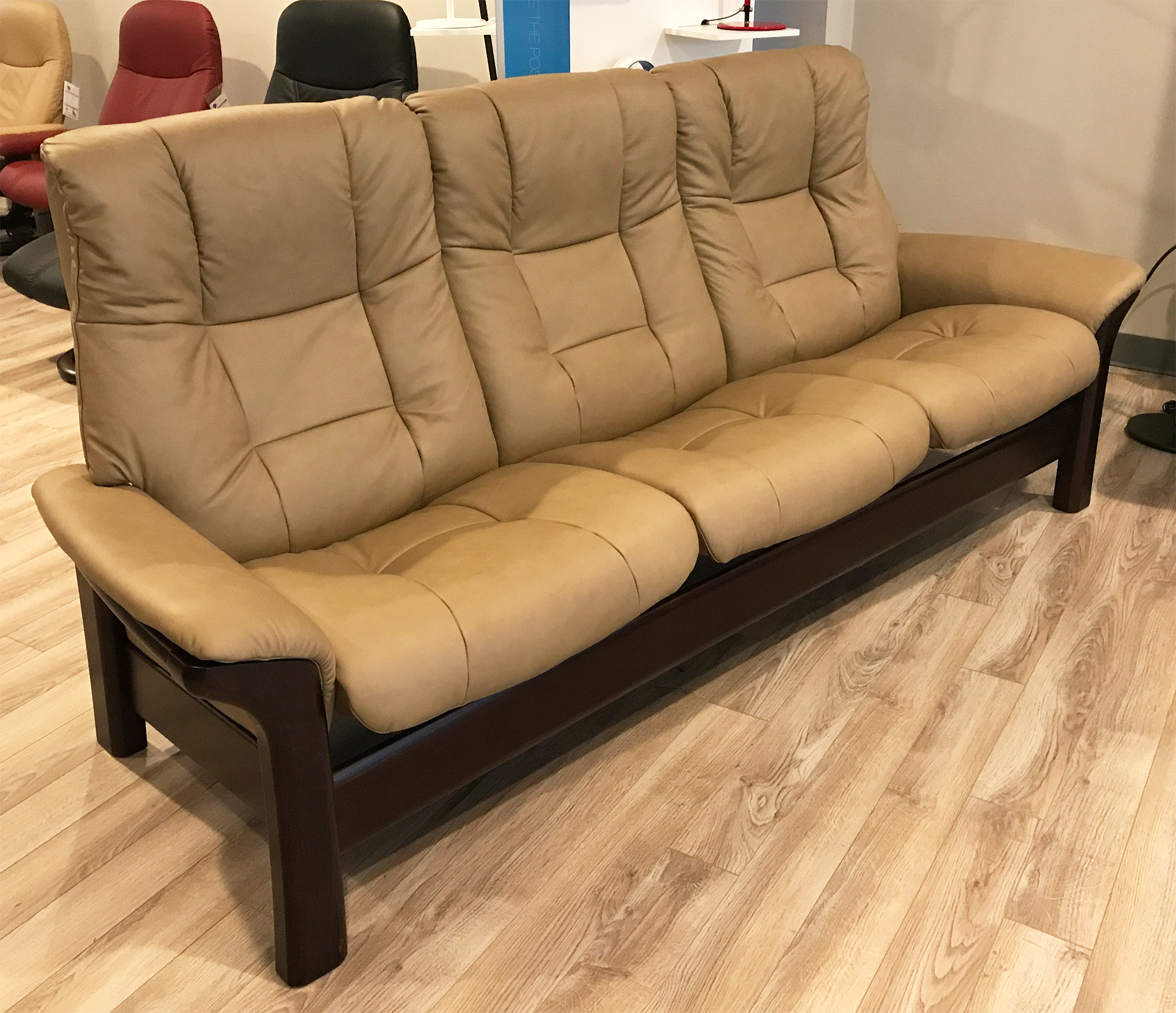 Stressless Buckingham 3 Seat High Back Sofa Paloma Stone