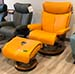 Stressless Medium Magic Paloma Clementine Leather Recliner Chair and Ottoman
