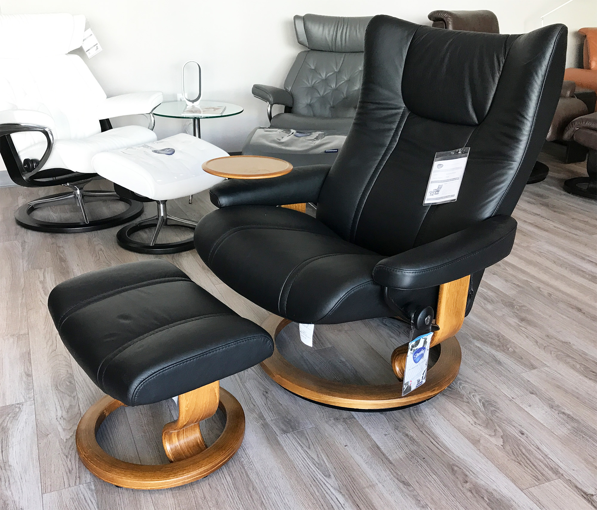Stressless Wing Recliner Chair And Ottoman In Paloma Black Leather