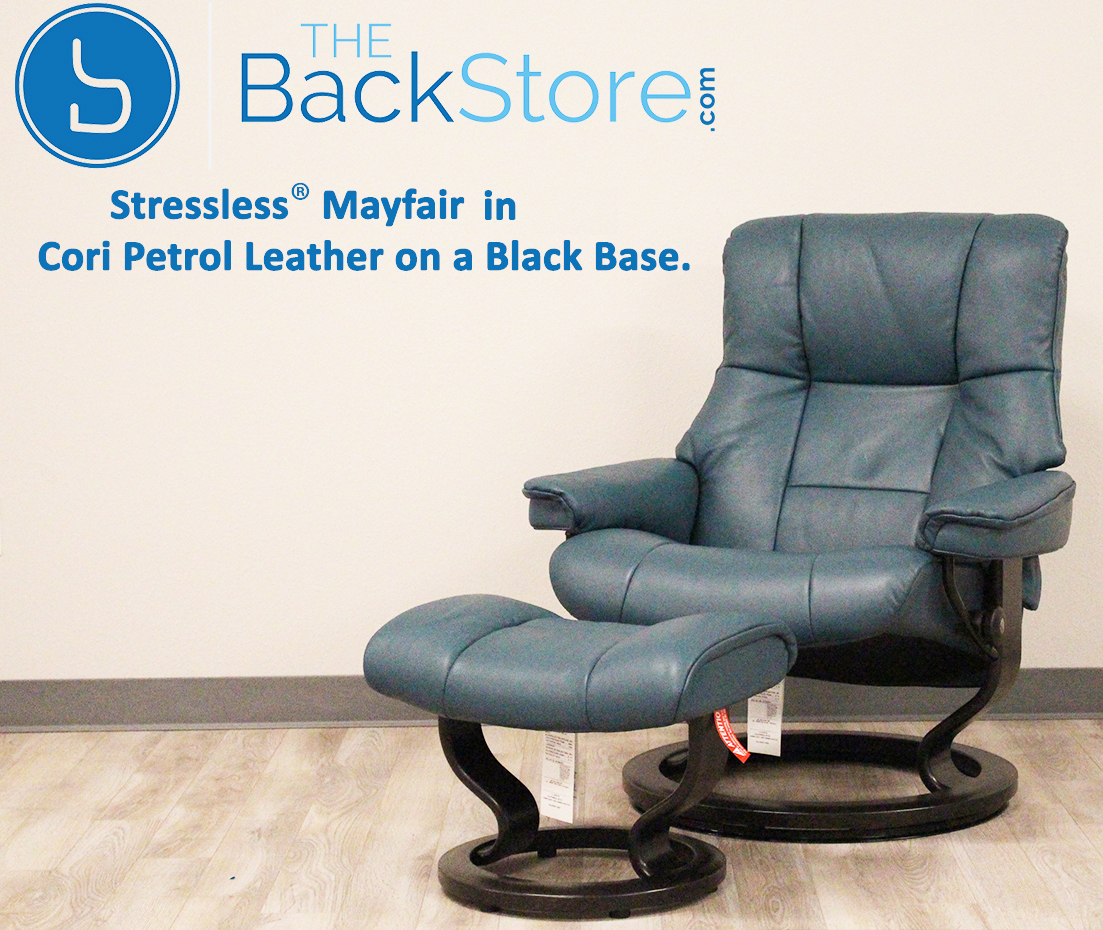Sensational Stressless Mayfair Cori Petrol Leather Recliner Chair And Ottoman By Ekornes Bralicious Painted Fabric Chair Ideas Braliciousco