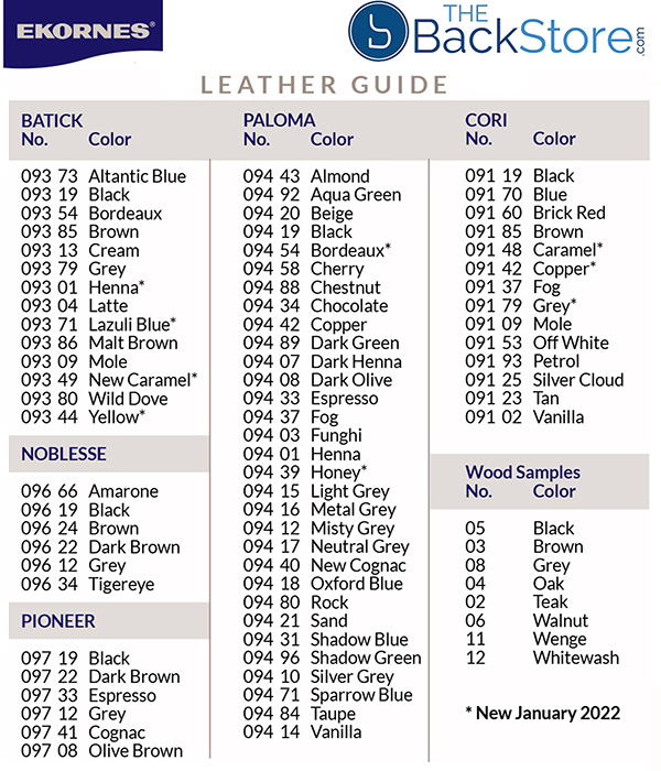 Stressless Leather Color Guide by Ekornes