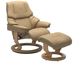 Stressless Reno Classic Recliner Chair and Ottoman