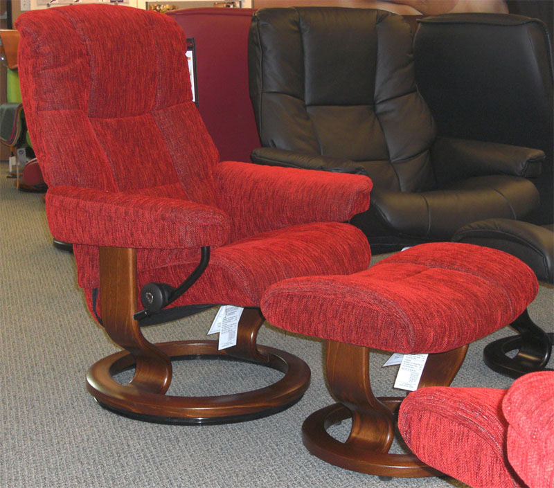 Stressless Mayfair Red Fabric Recliner Chair And Ottoman By Ekornes