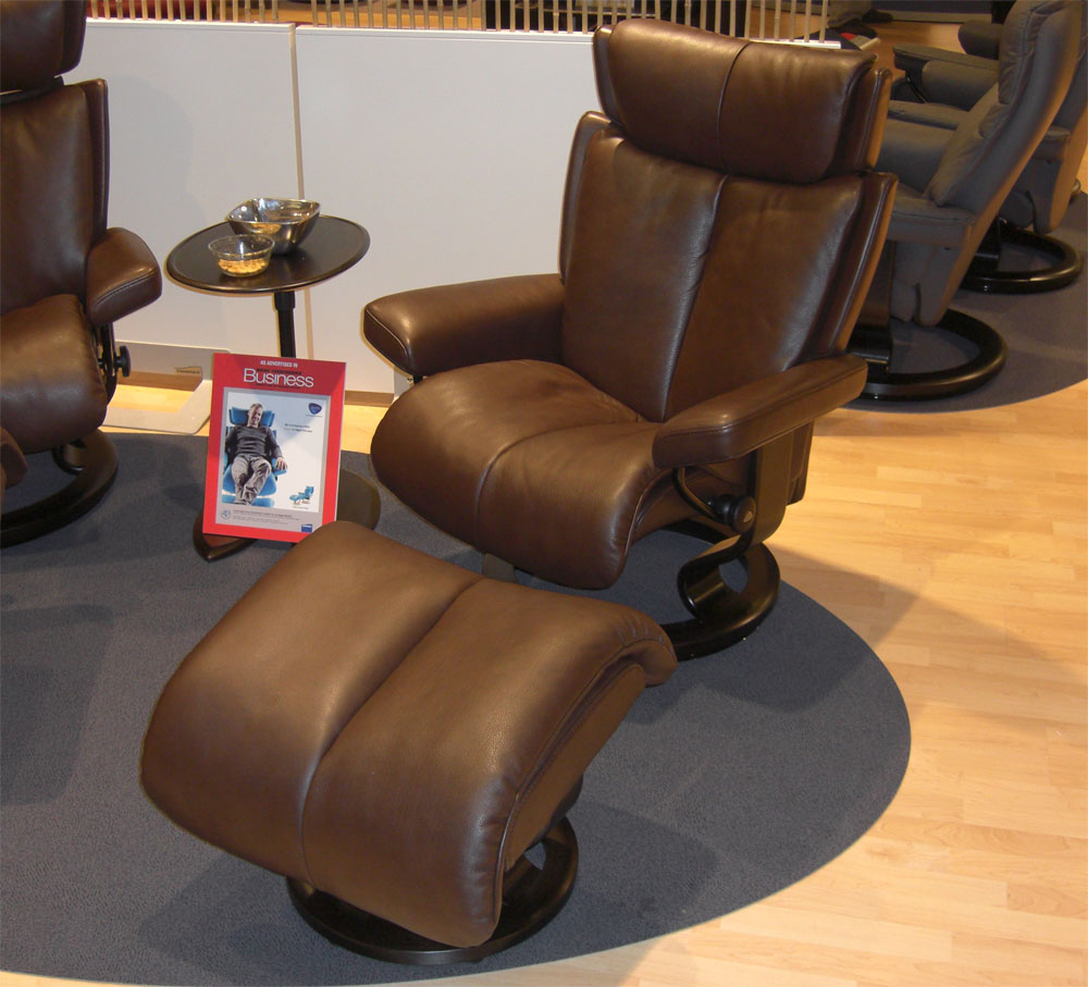 Stressless Magic Recliner Chair In Royalin Brown Leather And Ottoman By  Ekornes