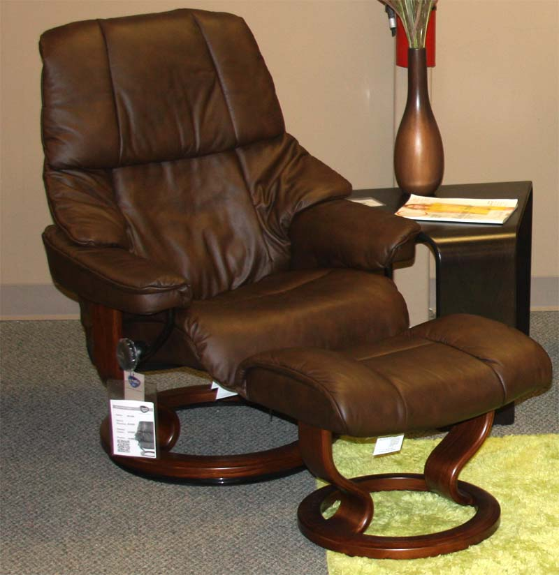 Stressless Vegas Paloma Chocolate Leather Recliner Chair And Ottoman Walnut Wood