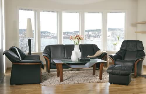 Stressless Eldorado Low Back Black Leather Sofa Ergonomic Couch By Ekornes
