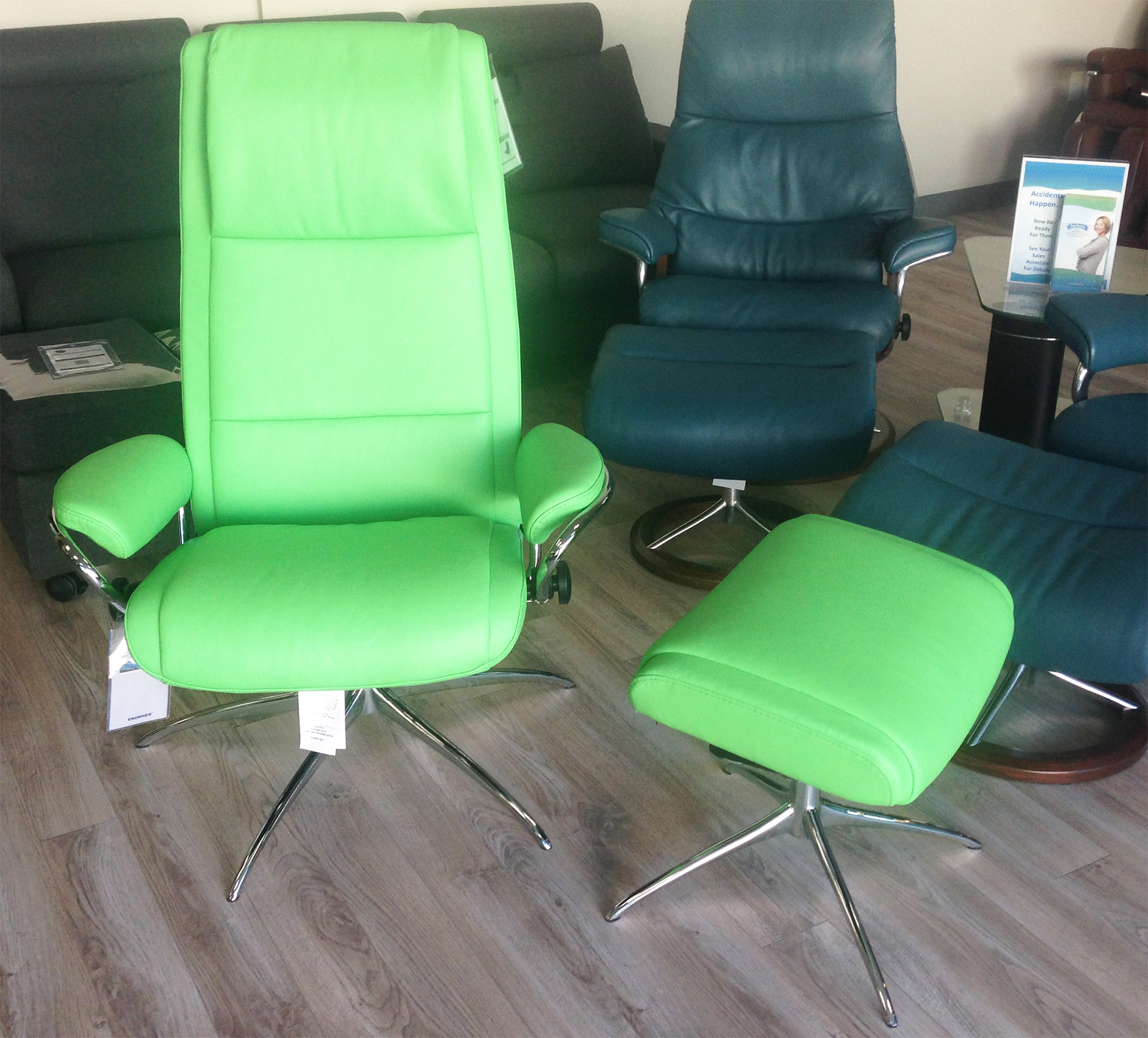Incredible Stressless Paloma Summer Green 09491 Leather By Ekornes Bralicious Painted Fabric Chair Ideas Braliciousco