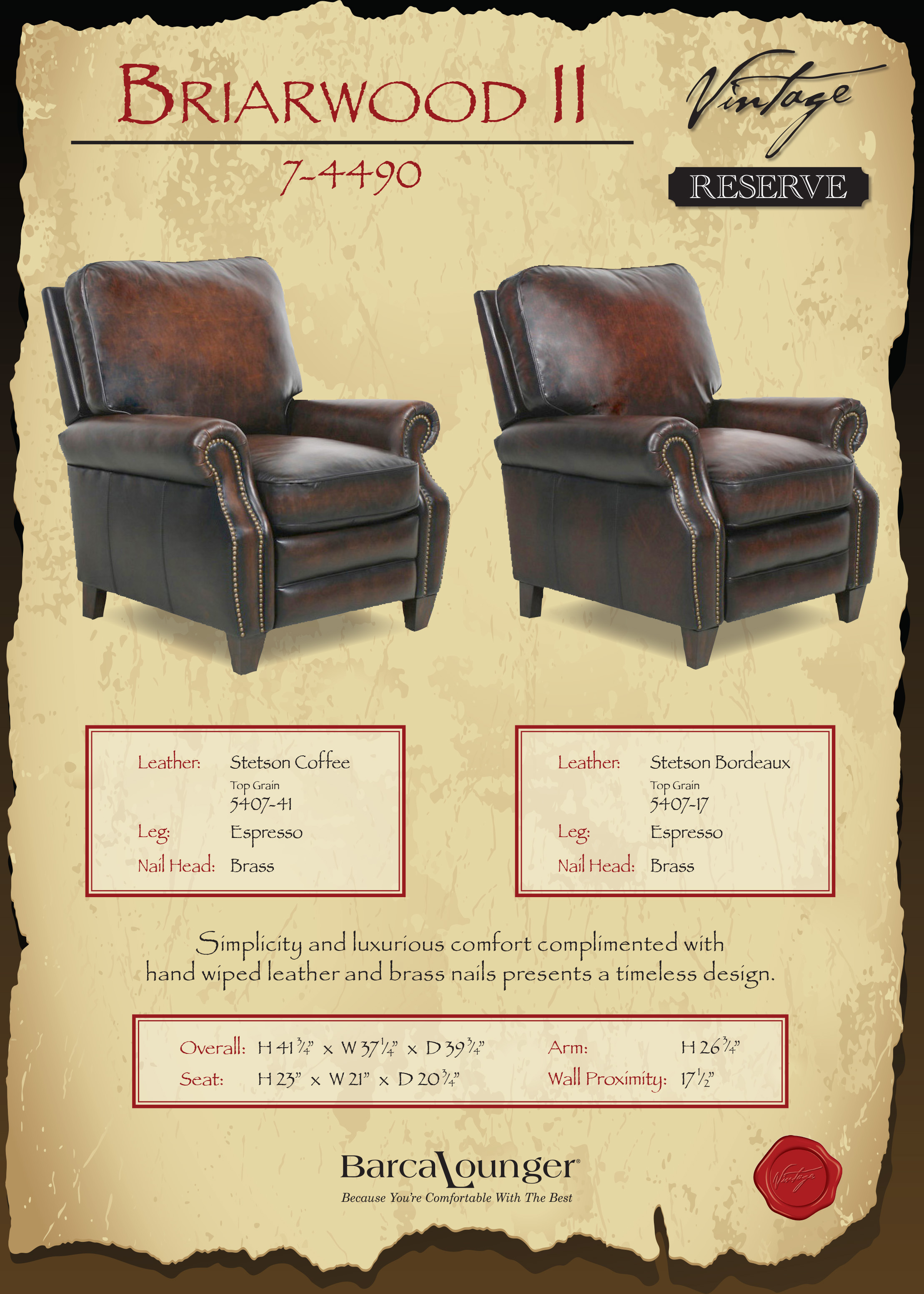 Barcalounger Briarwood Ii Recliner Chair Dimensions