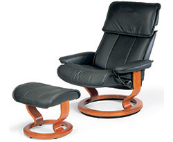 Stressless Admiral Recliner Chair and Ottoman Clearance Specials