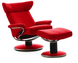 Stressless Paloma Chilli Red 09462 Leather Color Recliner Chair and Ottoman from Ekornes