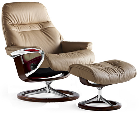 Stressless Sunrise Signature Chrome Wood Base Recliner Chair By