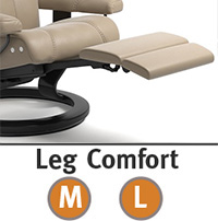 Stressless Skyline Leg Comfort Power Extending Footrest with Wood Base Recliner Chair