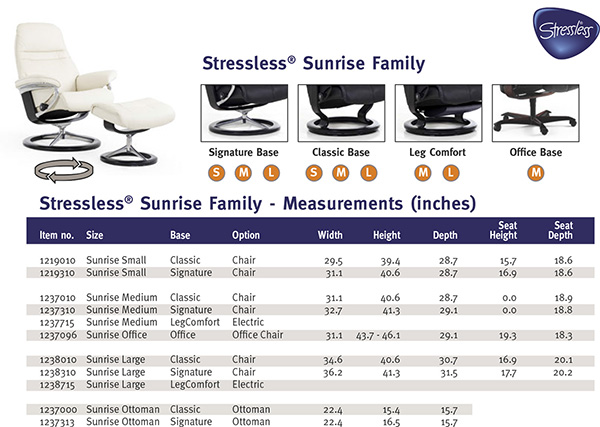 Stressless Sunrise Family Recliner Chair Dimensions from Ekornes