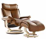 Stressless Magic Recliner Chair and Ottoman by Ekornes Furniture