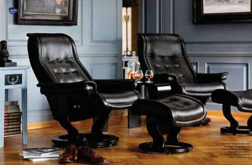 Merveilleux Stressless Royal Leather Recliner Chair And Ottoman   Stressless Royal  Recliner Black Leather By Ekornes
