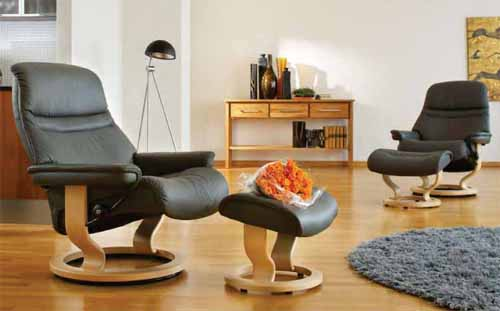 Stressless Sunrise Recliner Chair Ergonomic Lounger And Ottoman By