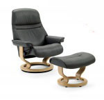 Stressless Sunrise Recliner Chair and Ottoman by Ekornes Furniture