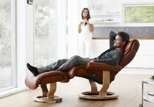 Magic Stressless Recliner and Ottoman by Ekornes